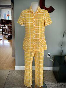 Vintage 60s Knit Pantsuit Plaid