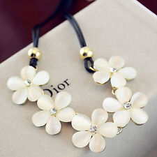 Women Fashion Crystal Flower Charm Choker Chunky Statement Bib Chain Necklace