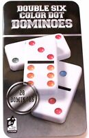 Dominos 28 pcs 6 Couleur Boite Mmétal 18,5x11 cm Jeu de Société