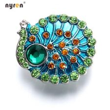 1pc 18mm Snap Button Metal Charms Peacock Shape Fit 20mm Snap Jewelry KZ0391