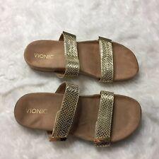 Vionic Jura Gold Snake Print Slide Sandals US Sz 8.5 Two-Strap O55