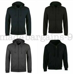 Mens Zip Up Hooded Sweatshirt Fleece Top Plain Hoody Jumper   S to XXL