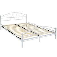Lit en métal double 2 places cadre de lit + sommier à lattes 140x200 cm blanc