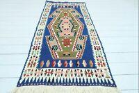 "Vintage Turkish Kilim, Blue Color Small Rug Wool Rug, Bedroom Rug Carpet 31""x69"