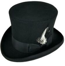 "100% Wool Felt Top Hats Victorian Style Mad Hatter 6"" Tall Gentlemen Magic Hats"