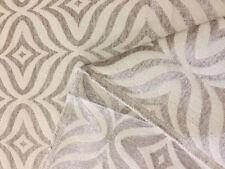 Reversible Upholstery Chenille Fabric Geometric Diamond Trellis Pattern Beige