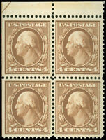 US Scott #377 Blk/4, Mint-VF-NH, Sm. Gum Skips, HR in Selvage, Left GL, SCV $260