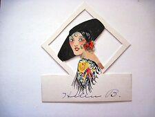 Vintage Art Deco Bridge Pace Card w/ Spanish Woman w/Large Black Hat *