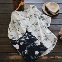 Women Cotton Shirt V Neck Half Sleeve Vintage Boho Floral Print Top Loose Blouse