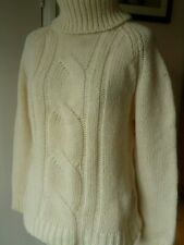 Boden cream lambswool mix cable knit chunky Jumper/Sweater.Polo roll neck.
