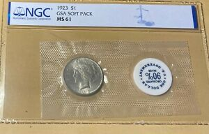 1923 NGC MS61 GSA Soft Pack Peace Silver Dollar