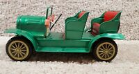 Antique 1960's Japan Metal Tin Litho Friction Toy Car Green Convertible Touring