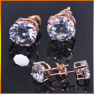 Mens Ladies 14K Rose Gold 0.75ct. Round Cut VS1 Lab Diamond Stud Earrings 6mm