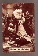 SANTA KISSING GIRL UNDER the MISTLETOE Photo Postcard 1910 Colonial Art vintage