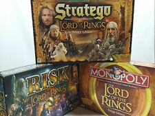 Lord of the Rings Trilogy Edition 3x Board Game Lot Risk Monopoly Stratego EUC!