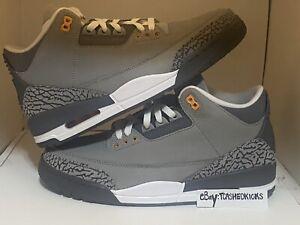 Nike Air Jordan 3 Cool Grey Black White CT8532-012 Size 9.5-10