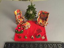 ARTISAN MINIATURE doll house furniture Christmas tree, wreaths, ornaments,rug +