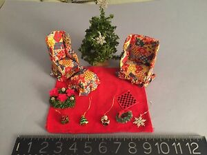 ARTISAN MINIATURE DOLL HOUSE Furniture Christmas Tree,Wreaths,Ornaments,Rug MORE