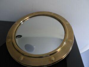 Vintage Brass 15inch Porthole Convex Mirror Glass
