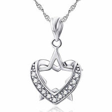 """Sterling Silver Heart Star Pendant Necklace 18"""" Chain  Cubic Zirconia Pave A2"""