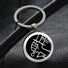 Hellboy Keychains Silver Plated Pendant Glass Key Chain Party Gift Keyrings