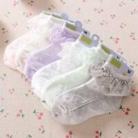 Kids Baby Girls Frilly Bow Lace Tutu Socks Infant Newborn Toddler Ankle Socks