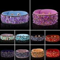 Fashion Natural Stone Crystal Leather Bracelet Cuff Bangle Charm Women Jewelry