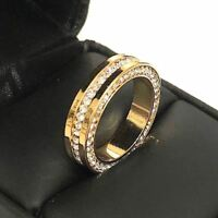 Unique 3 Ct Diamond Paved Band Ring Women Wedding Jewelry 14K Yellow Gold Plated