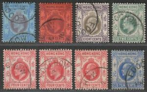 Hong Kong 1903-07 KEVII Selection to 30c Used with FOOCHOW Postmarks