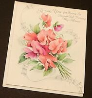 """Hallmark Vintage Greeting Card 1940's Thank You with Envelope 3.5"""" x 4.5"""" NOS"""