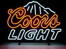 """17""""x14"""" Coors Light Beer Bar Pub Man cave Display Garage Real Glass Neon Sign"""