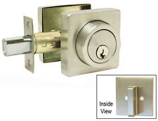Satin Nickel Square Plate Single Deadbolt Door Lock Brushed Nickel Knobs levers