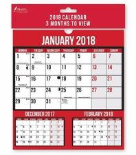 2018 Spiral Bound 3 Months to View Wall Planner Calendar Home Office Factory New