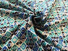 Blue and Green Moroccan Tile Geometric Abstract Viscose Knit from France!!