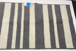 Accent Rug Charcoal Gray White Stripes 2x3 Feet Nylon Pile Latex Back NEW!