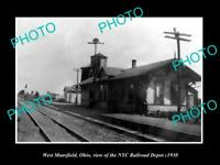 OLD LARGE HISTORIC PHOTO OF WEST MANSFIELD OHIO, THE NYC RAILROAD DEPOT c1930