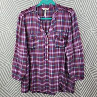 Matilda Jane Plaid Top Shirt Women Size XXL Casual Mambo Ruffle Sleeve Tunic