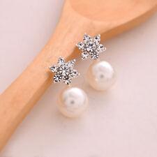 1 Pair Fashion Women Elegant Crystal Rhinestone Pearl Ear Stud Earrings Gift