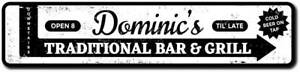 Custom Bar & Grill Sign Traditional Aluminum Metal Wall Decor Plaque ENSA1010020