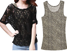 NEW~Women LARGE~2 PIECE~Black LACE Top with Leopard Tank Shirt