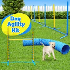 Pet Dog Agility Weave Poles Training Tunnel Jump Bar Kit 3 Piece Combo Set