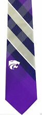 Kansas State Wildcats Plaid Mens Necktie University College Logo Neck Tie New