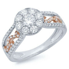1.07CT 14K Two Tone Gold Natural Round Diamond Cluster Paisley Engagement Ring