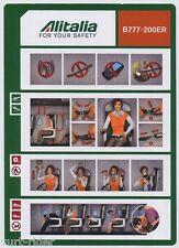 ALITALIA CAI B777-200ER safety card 64502078 12/01/2012 small -v/good cond sc558