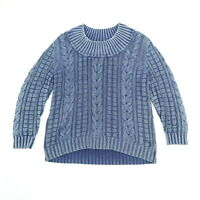 Vintage PBJ Chunky Cable Knit Fisherman Sweater XL Nicely Faded Indigo Blue