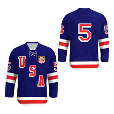 1960 Herb Brooks 5 USA Hockey Jersey with Patch stitch Size Colors Free Shipping