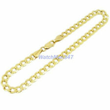 Mens 10K Yellow Gold Fancy Diamond Cut Figaro Cuban Mariner Link Bracelet