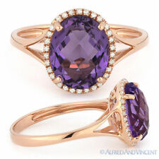 2.64ct Oval Cut Purple Amethyst Gem & Diamond Halo Engagement Ring 14k Rose Gold