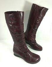 NEW Women's Miz Mooz BLOOM Knee High Boots Red Leather Buttons Sz 6.5