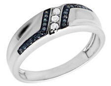Mens Real Irradiated Blue Diamond White Gold Finish Wedding band Ring 0.20ct 7MM